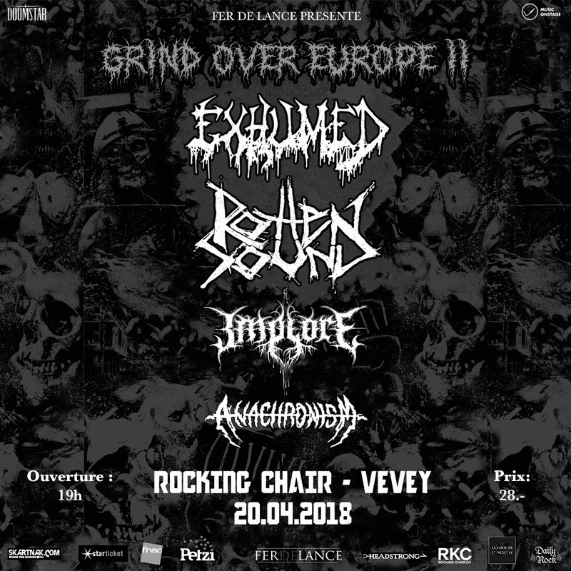 EXHUMED + ROTTEN SOUND + IMPLORE + ANACHRONISM @ ROCKING CHAIR, VEVEY
