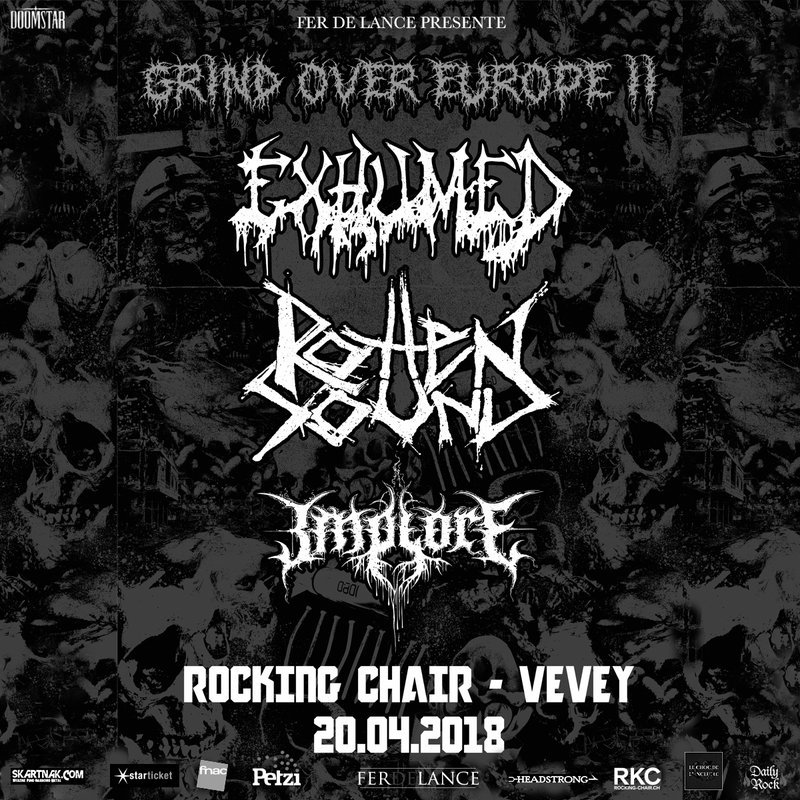 EXHUMED + ROTTEN SOUND + IMPLORE @ ROCKING CHAIR, VEVEY